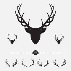 Deer head silhouette with antlers, vector illustration