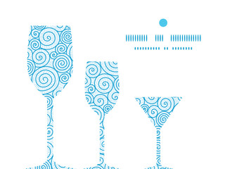 Vector abstract swirls three wine glasses silhouettes pattern