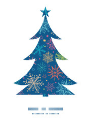 Vector colorful doodle snowflakes Christmas tree silhouette