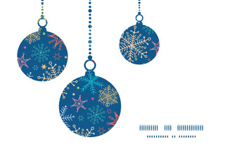 Vector colorful doodle snowflakes Christmas ornaments