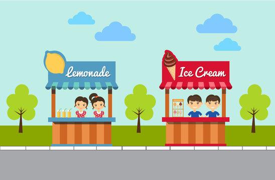 Lemonade And Ice Cream Stands