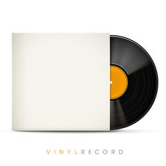 3d vinyl record with blank envelope