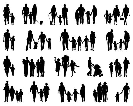 Black silhouettes of families, vector illustration