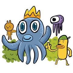 illustration of an octopus and Doodles