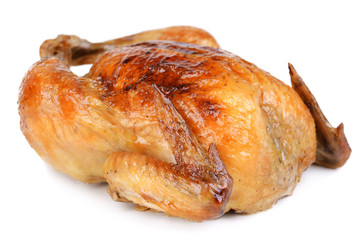 Delicious baked chicken isolated on white