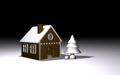 white winter 3d gingerbread house and tree eps10