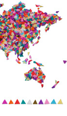 Asia ,Oceania made of confetti / with clipping path