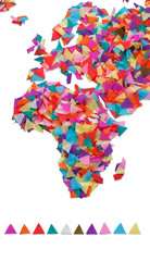African,Europe made of confetti / with clipping path