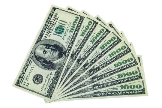 1000 dollar bills stack