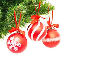 Christmas tree, new year, red balloons, Santa Claus