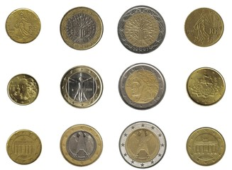 euro coins from three nations
