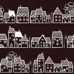 Dark seamless pattern town