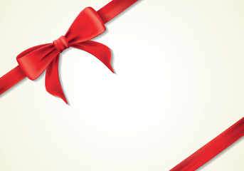 Red ribbons and greeting card, bows, Vector, gift