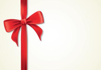Red ribbons and greeting card, bows, Vector, card