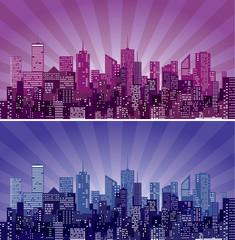 purple cityscape burst