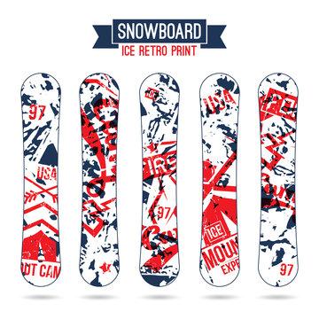 Ice retro print for snowboard