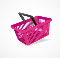 Vector shopping basket pink