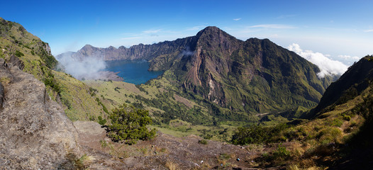 Jari Baru volcano inside Rinjani mountain panorama, Lombok