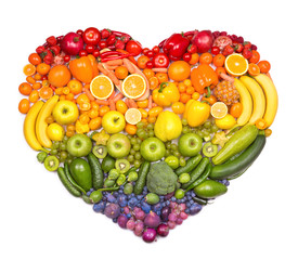 Aluminium Prints Fruits Rainbow heart of fruits and vegetables