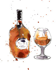 cognac bottle and glass