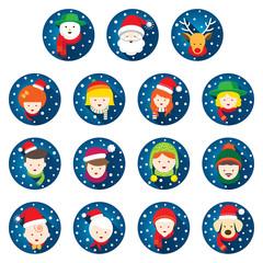 Flat Icons Set : Christmas, Family, People