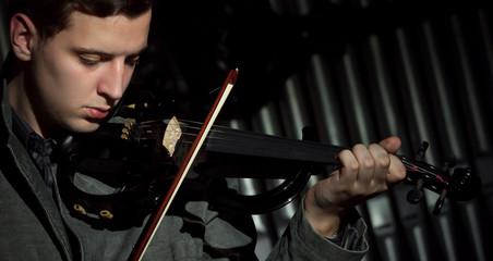 Playing on violin