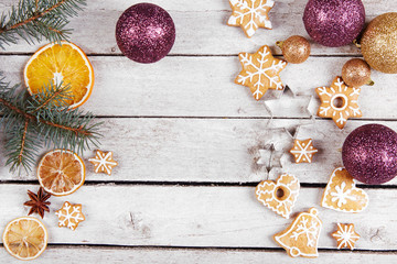 Christmas balls, gingerbread and dried oranges