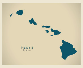 Modern Map - Hawaii USA