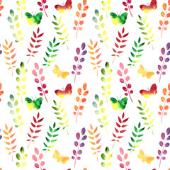 vector seamless watercolor pattern with leaves