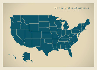 Modern Map - USA with federal states