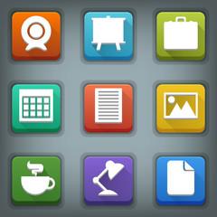 Flat icon set. White Symbols. Business
