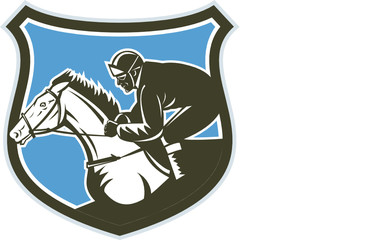 Jockey Horse Racing Side Shield Retro