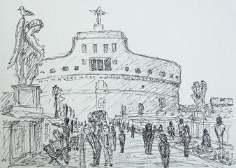 Roman cityscape of the Castel Sant Angelo painted by ink