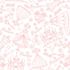 Vector pattern with princess symbols on white color