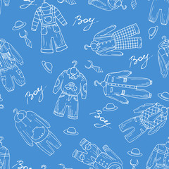 Vector seamless pattern with clothes for boys in blue