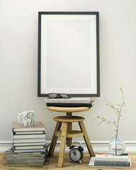 mock up poster frame with vintage loft interior background
