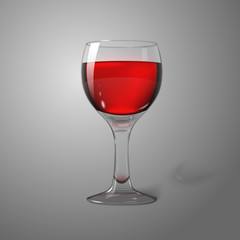 Blank transparent photo realistic isolated on grey wine glass
