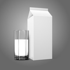 Realistic white blank paper package and glass for milk, juice,