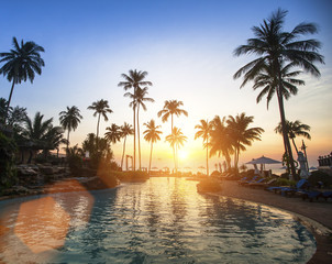 Amazing sunset on a tropical beach.