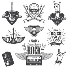 Set of rock and roll music emblems. set 2