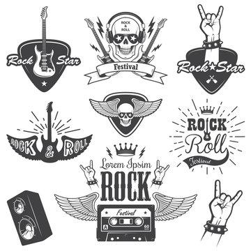 Set of rock and roll music emblems. set 2