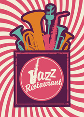 banner for jazz restaurant with wind instruments