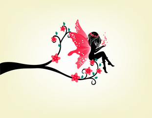 Silhouette Of A Fairy And Tree