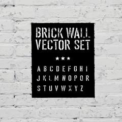 Brick traced texture, stencil alphabet and grunge rectangle. Thr