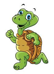 Turtle Run Cartoon Illustration