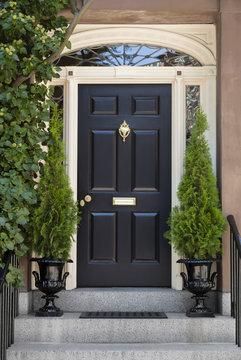 Black Front Door with White Door Frame and Greenery