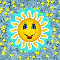 Happy sun on star sky