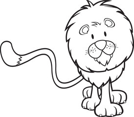 Cute lion coloring book vector illustration