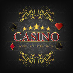 Casino vector illustration for poster on a dark background