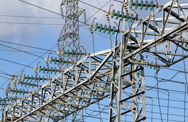 high voltage electric cables in power station
